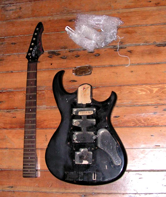 aria pro guitars ae close cousins to later electras, both made bymatsumoku  and both often with mmk pickups  this project is rough but promising- neck  and